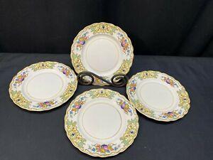 Vintage Set of 4 Karlskrona Sweden Halo Bread and Butter Plates
