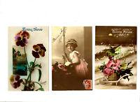 CPA Fantaisie Fêtes Bonne Année lot de 3 Cpa fantasy postcard Enfants Fleurs