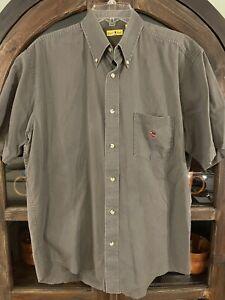 Mens Vintage Duck Head Gray Button down Shirt Sz L.  100% Cotton.   B4.  EUC.