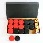 Set 30 Bakelite Red Black Backgammon Checkers Game 5 Dice Original Box Vintage