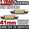 2x 41mm 264 C5W SV8.5 6000k BRIGHT WHITE 3 SMD LED FESTOON LIGHT BULB ERROR FREE