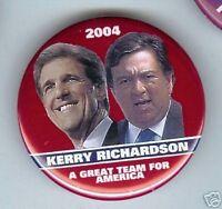 John KERRY 2004 Rare DEMOCRATIC Party Convention pin + Bill RICHARDSON pinback