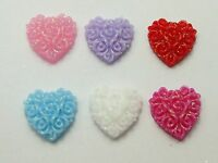 100 Mixed Color Flatback Resin Floral Heart Cabochons 12X12mm DIY Craft