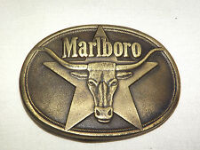 VINTAGE 1987 SOLID BRASS PHILIP MORRIS  MALBORO CIGARETTES STEER BELT BUCKLE