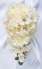 17pcs Wedding Bridal Bouquet Flowers Ivory Cascade Silk