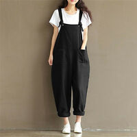 Women Casual Loose Pants Cotton Jumpsuit Strap Harem Trousers Overalls Rompers M