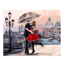 Under The Umbrella Kiss - Digital Oil Painting DIY Frameless New Style