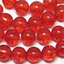 Lot de 20 perles craquelées en verre 10mm Orange 10mm