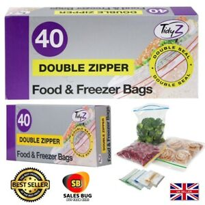 Food & Freezer Bags x 40 Double Seal 17x21cm Ultimate Strength
