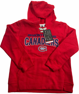 NHL Youth Small Montreal Canadiens Red Pullover Sweatshirt Logo Hoodie NWT