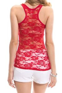 NEW SEXY Lace Racerback Ribbed Solid Tank Top Cami Sleeveless Shirts Cotton/Poly