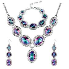 Rainbow Mystic Topaz Silver Plated Necklace, Bracelet & Earrings Set