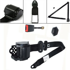 3 Point Retractable Car Seat Lap Belt Adjustable Kit Iron Rod Steel Wire Buckle