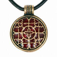 Amulett Cloisonné Merowinger Halskette Mittelalter Anhänger Bronze/Versilbert