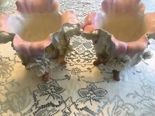 2 Antique Moore Bros Style Porcelin Applied Flowers Footed