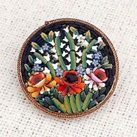 Beautiful Vintage Exquisite 1940s Italian Flower Micro Mosaic Brooch Gift Boxed