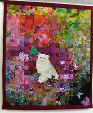 "Quilted Wall Hanging/Cat in the Garden/30"" x 35""/Signed/Over 450 Pieces"