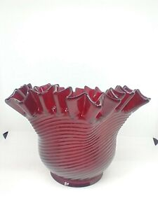 "New Cranberry Ruby Red Gas Oil Lamp Shade Threaded Crimped Pattern Nos 4"" fitter"