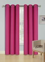 """2 PANEL SOLID  HOT PINK  THERMAL 100% BLACKOUT GROMMET WINDOW CURTAIN 84"""" L #68"""