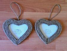 Heart Shaped PAIR Of Photo Frames By Gisela Graham Rattan Rope Nautical Picture