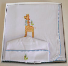 Elegant Baby Giraffe Appliqué Receiving Blanket & Hat Set Multi-Color Cotton NWT