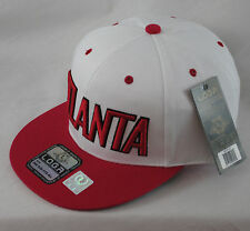 LOGA Embroidered Atlanta Red White Baseball Hat Tonal Snapback Flat Peak Cap