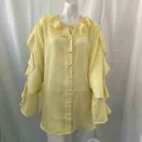 Anthony Mark Hankins Collection Womens Plus Size Yellow Ruffled Blouse 2X