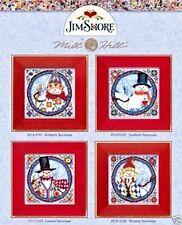 Mill Hill Jim Shore Beads Button Cross Stitch Set of 4 ~ SNOWMEN SERIES #14-9100