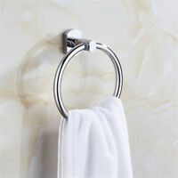 Chrome Towel Ring Hand Rack Holder Wall Mount Mounted Bathroom Round Polished