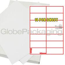 50 Sheets Of Printer Address Laser Labels 14 Per Page