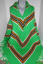 One Size Fringe Knit Poncho 60s 70s Bright Green Vtg Boho Orlon Machine Made