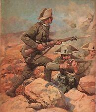 STAMPA 1916 ACHILLE BELTRAME WW1 CARABINIERI BAIONETTA GUERRA ATTACCO