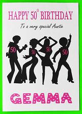 PERSONALISED 50th Birthday Card (Disco) GIRL FEMALE MUM NIECE SISTER NAN 50