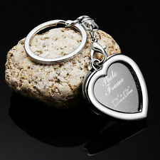 Metal Insert Photo Frame Custom Keyring Key Ring Heart Keychain DIY Lover Gift
