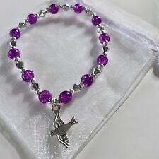 New Peace Dove Charm Bracelet ~ Gift Idea ~ Charm, Stretchy ~ Purple Silver Bead