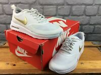 NIKE LADIES UK 3 EU 36 AIR MAX THEA WHITE GOLD SWOOSH TRAINERS CHILDRENS RRP£85C