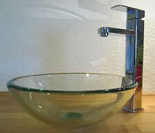 Bad Gäste-WC Waschtisch kleines Aufsatz Glas Waschbecken Klarglas rund 31cm