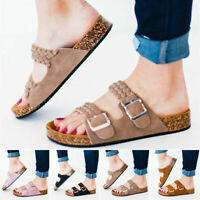 Women Cork Heel Open Toe Sandals Ladies Buckle Casual Braid Mules Slippers Shoes