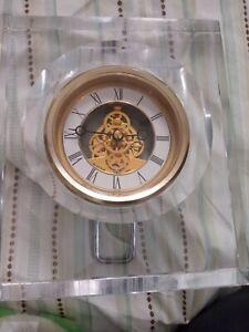 Bulova Vantage Analog Quartz Crystal Glass Mantel Clock Good Working & Cosmetic