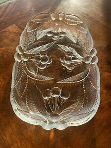 Mint! Pretty Vintage Mikasa Crystal Bountiful Cherries Crystal Serving Platter