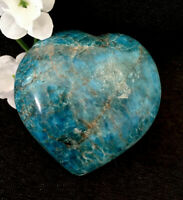 240g  LARGE POLISHED BLUE/GREEN APATITE CRYSTAL HEALING HEART Reiki  NORWAY