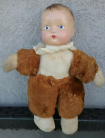 Antique 1920-30's Teddy-Doll with plush cotton body & composition head