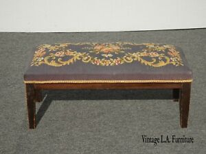 Vintage French Country Blue Needlepoint Long Footstool Bench on Brown Base