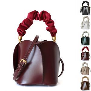 Mini Small Real Leather Petal Drawstring Tote bag Bucket Crossbody Purse Handle