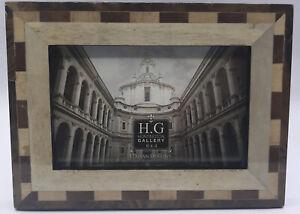 """Huntington Italian Design Picture Frame 4x6"""" Photo Natural Tan Burl Wood Veneer"""