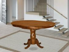 Oval Dining Table with 18-Inch Extension Butterfly Leaf, Saddle Brown