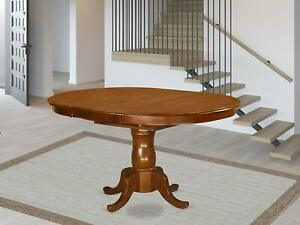 Oval Dining Table with 18-Inch Extension Butterfly Leaf, Brown FREE SHIPPING