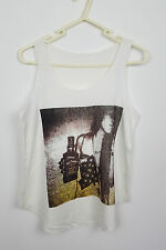 VTG CREAM WOMAN NOVELTY HIPPY FESTIVAL OVERSIZED URBAN RENEWAL VEST TOP VGC UK M