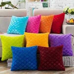 1pcs 43*43cm Plaids Pattern Soft Short Velvet Throw Pillow Cushion Cover Pillow