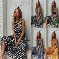 Polka Dot Maxi Dress Holiday  Sundress Long Dresses Womens  Ladies   Beach